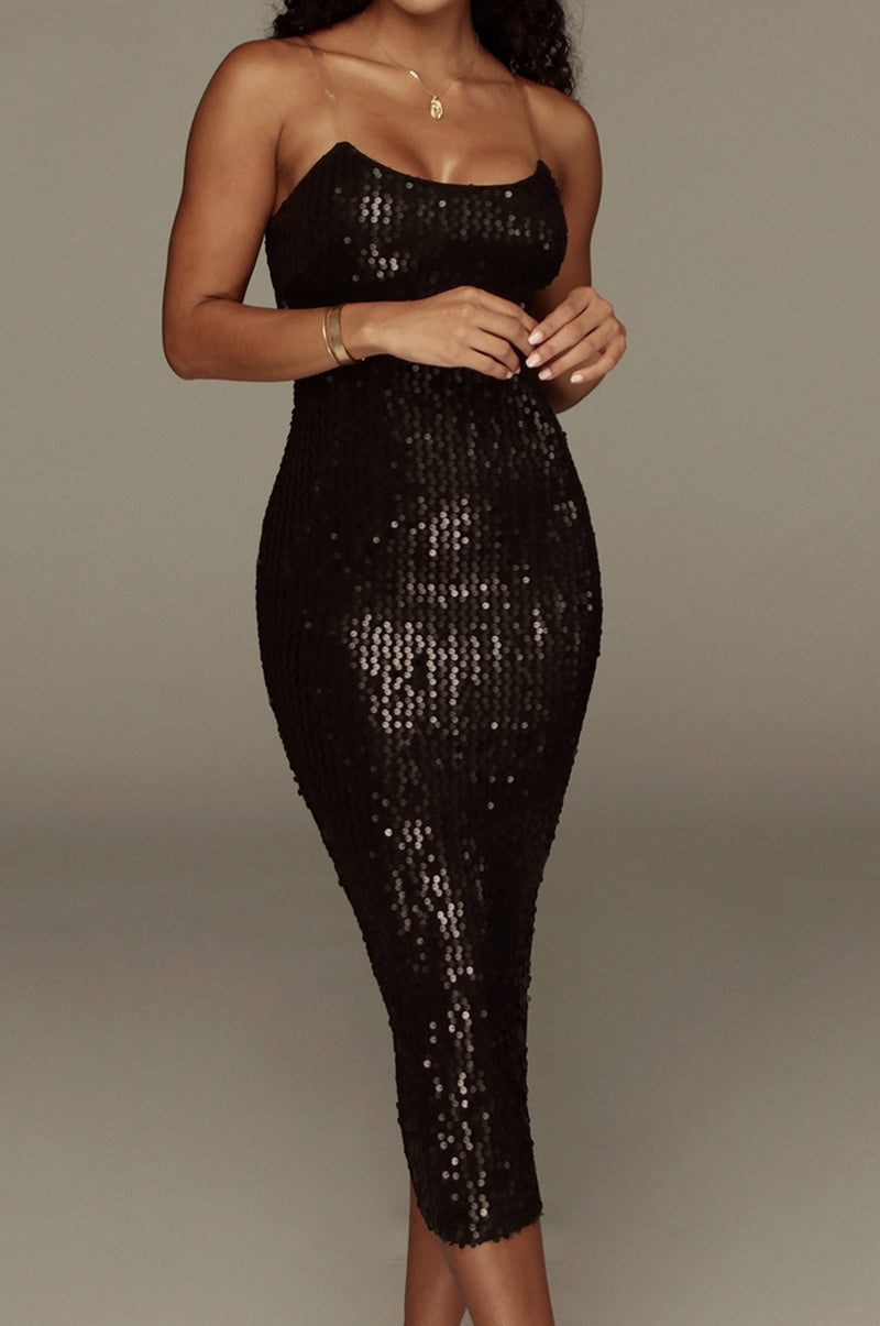 Black Ventura Sequin Dress