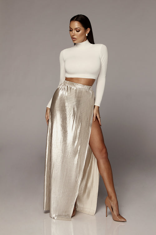 Frosted Gold Neon Slit Skirt