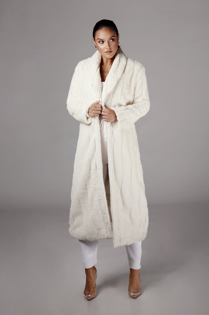 Ivory Mahima Faux Fur Textured Coat