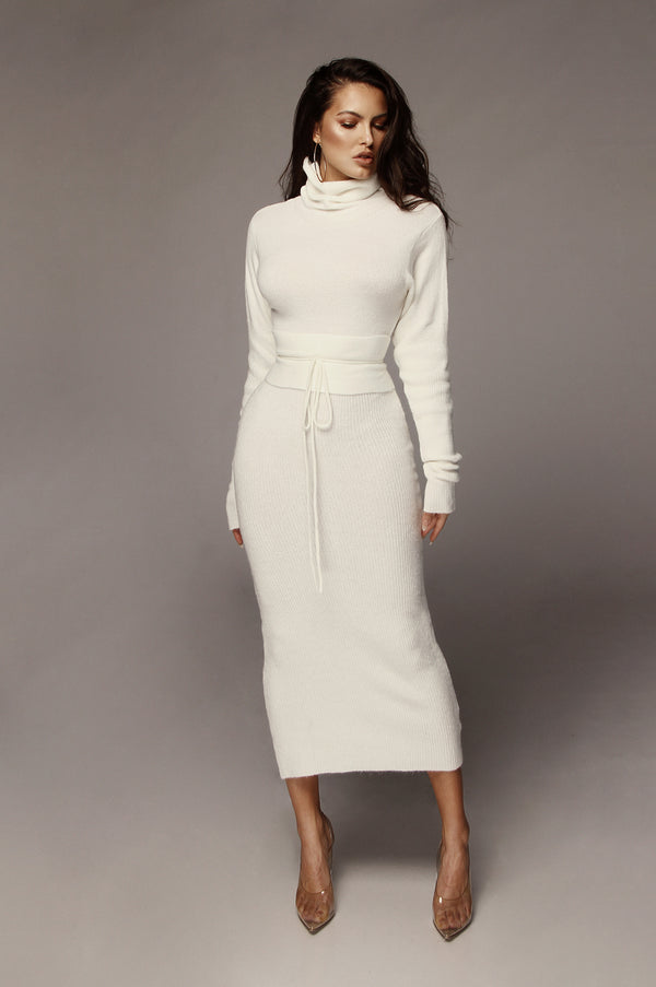 Ivory Aubrey Turtleneck Sweater Dress