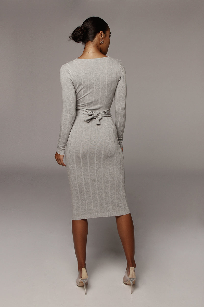 Grey Kita Ribbed Mid Tie Dress
