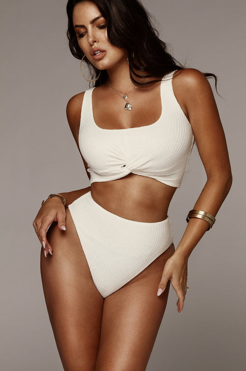 Ivory Lucy Ribbed Knot Top and Bottom Set
