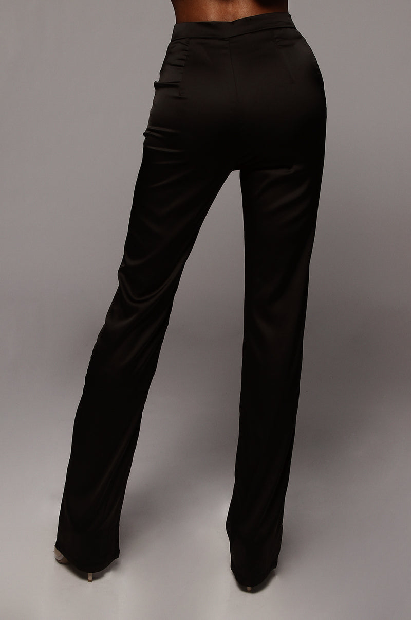 Black Symmetry Satin Trousers