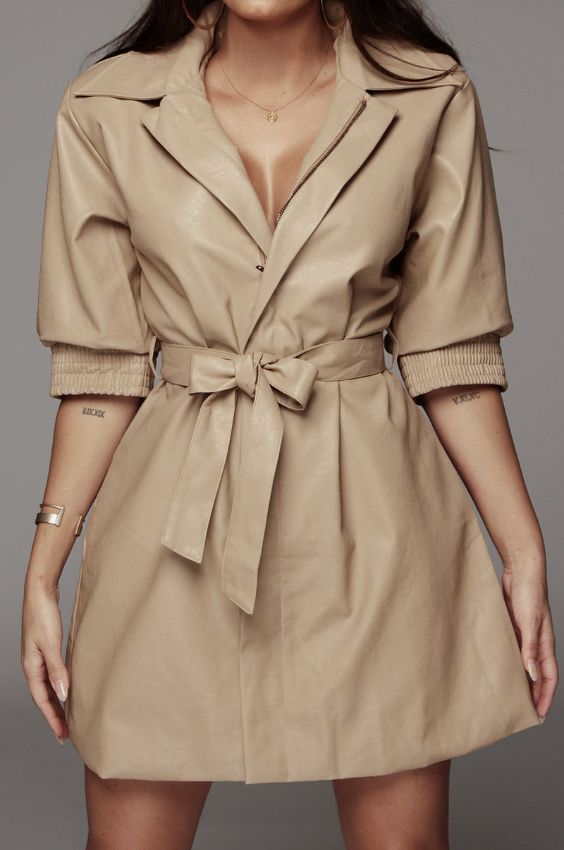 Beige Jendaya Faux Leather Shirt Dress