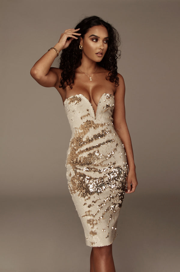 Ivory Omna Sequin Dress