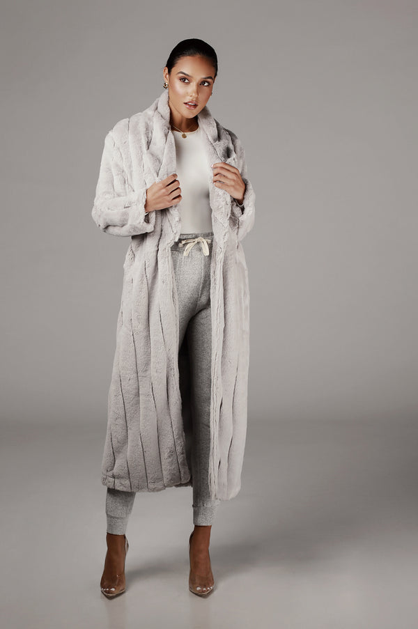 Grey Mahima Faux Fur Textured Coat