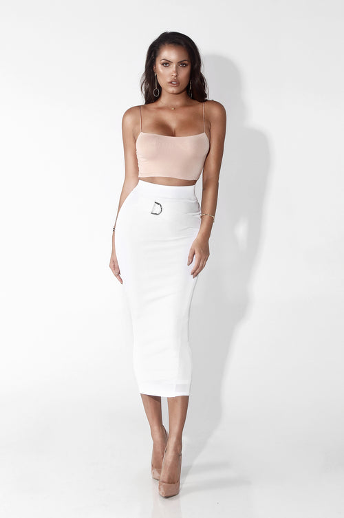 White Raven Fitted + Belted Skirt