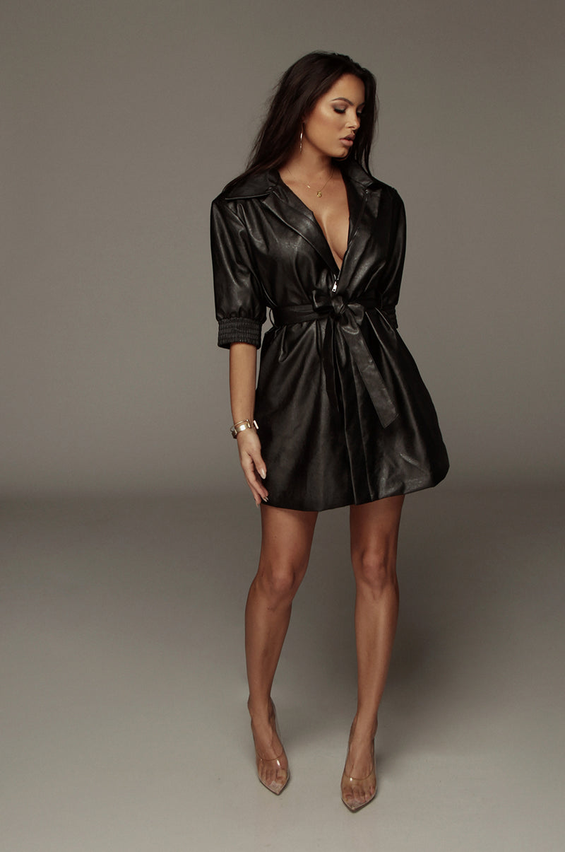Black Jendaya Faux Leather Shirt Dress