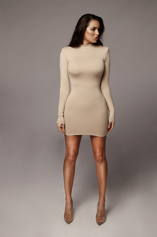 Beige Larissa Mock Neck Dress