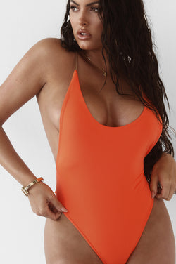 Orange Issel Backless One Piece