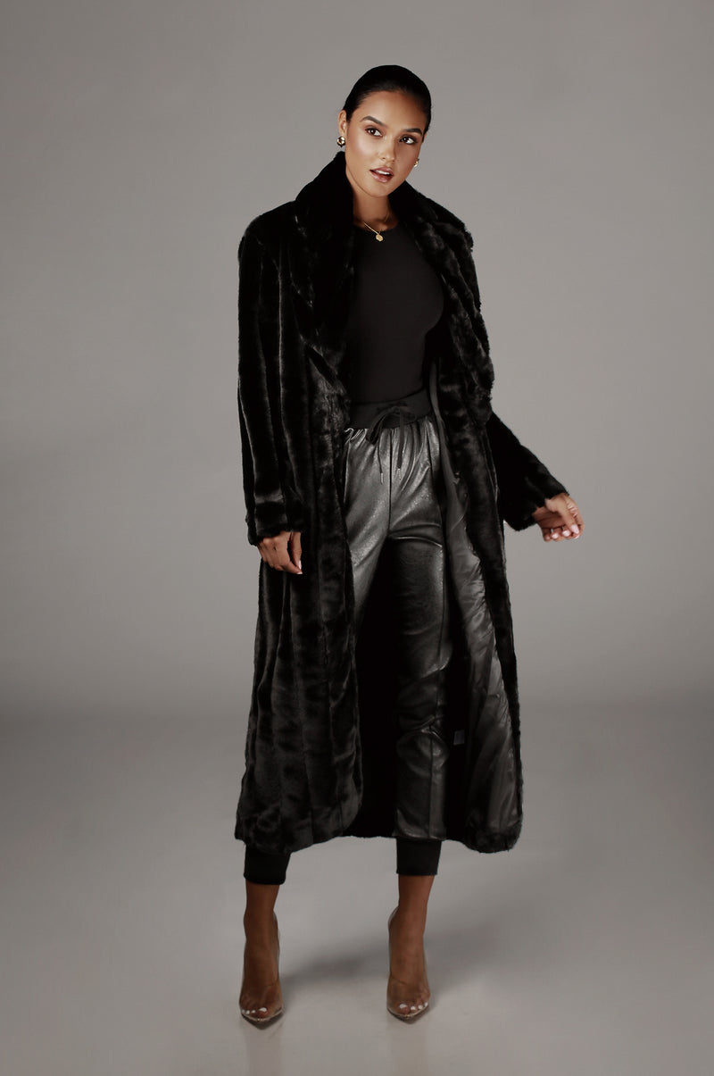 Black Mahima Faux Fur Textured Coat
