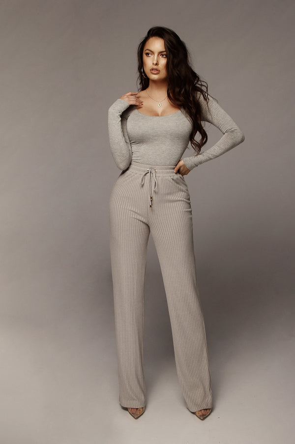 Heather Grey Kaycee Ribbed Pants
