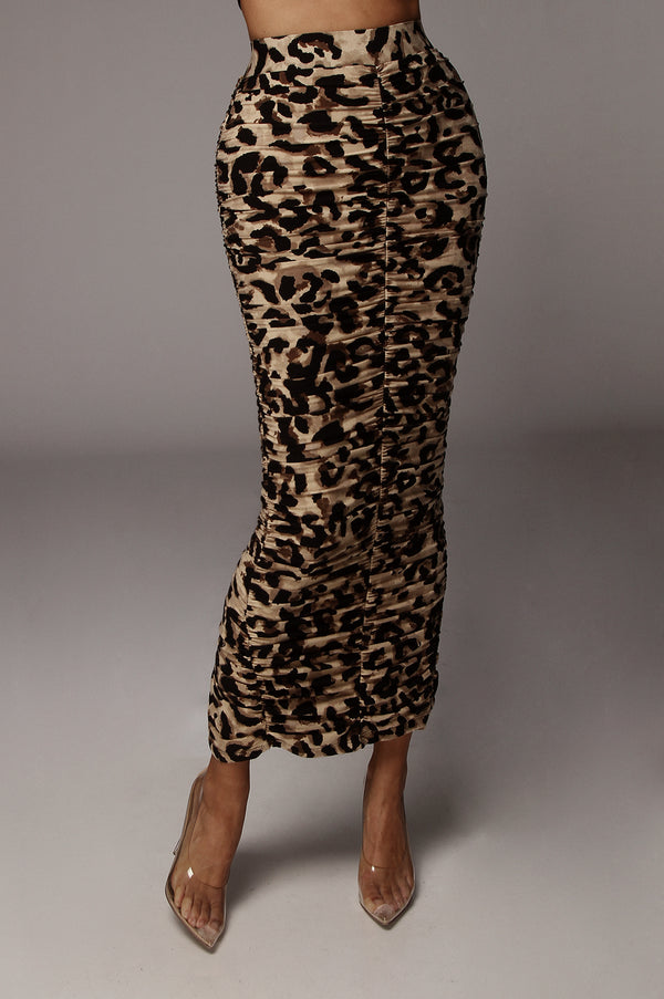 LEOPARD HALOW RUCHED SKIRT