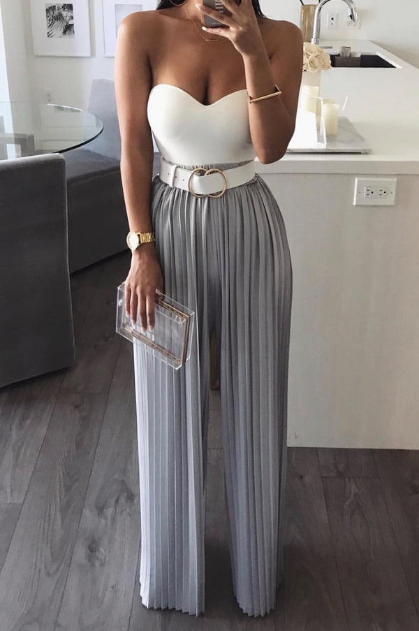 Grey Half Dollar Pleated Wide Leg Pant