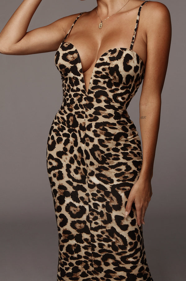 LEOPARD SILVY DEEP NECK DRESS