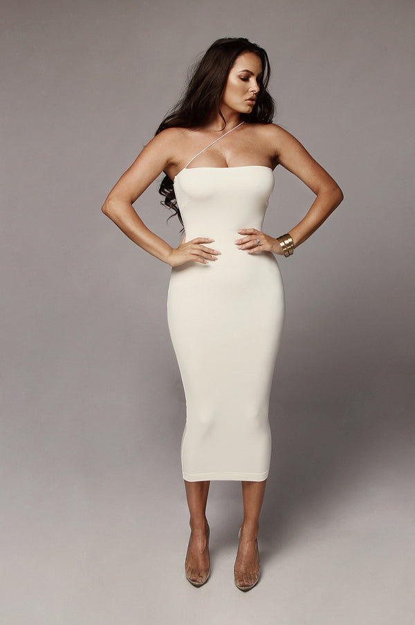Ivory Tiffany Diagonal Strap Dress