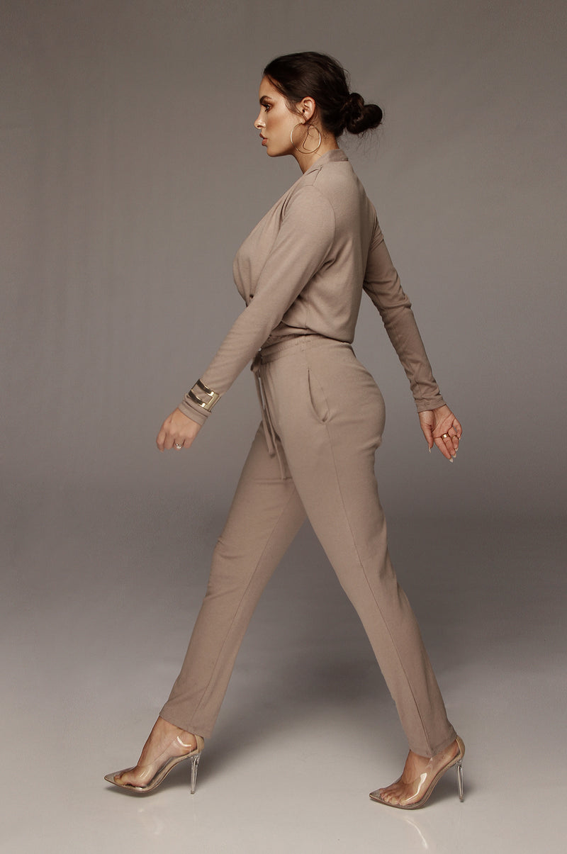 Taupe Madison Cozy Jumpsuit