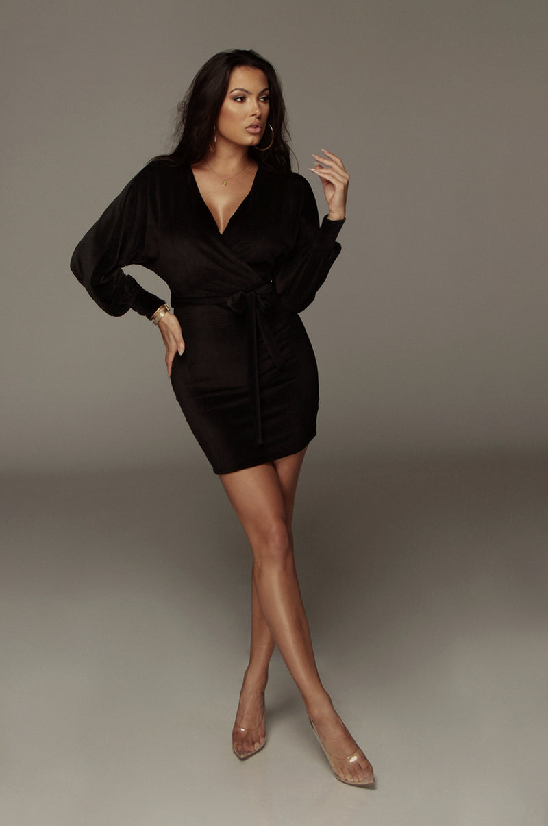 Black Philipa Velvet Dress