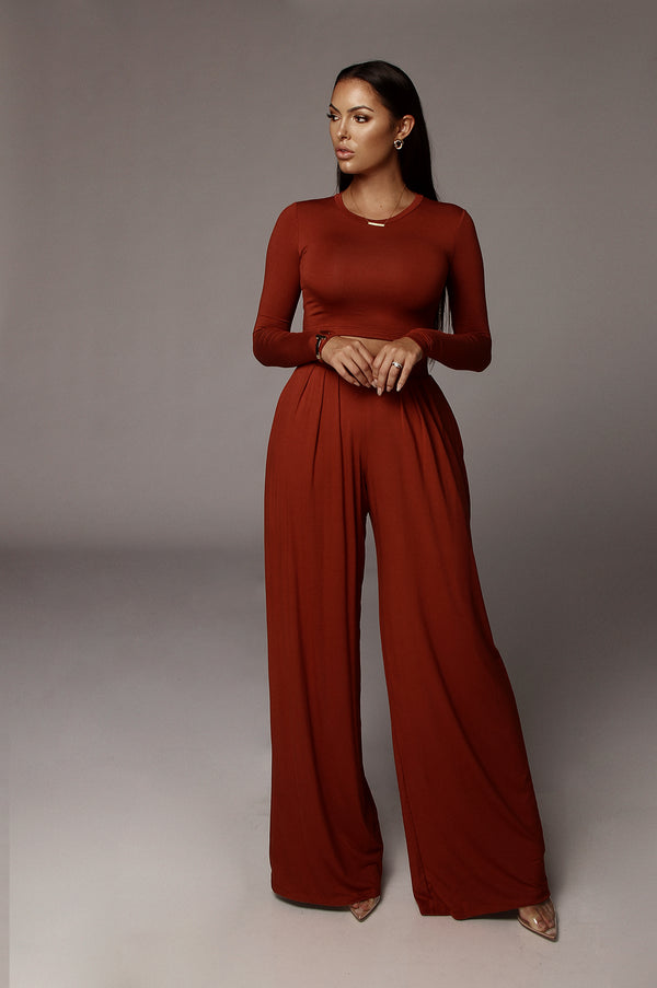 Rust Devyn Wide Leg Pants
