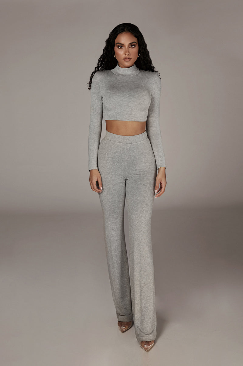 Grey Quela Padded Shoulder Top