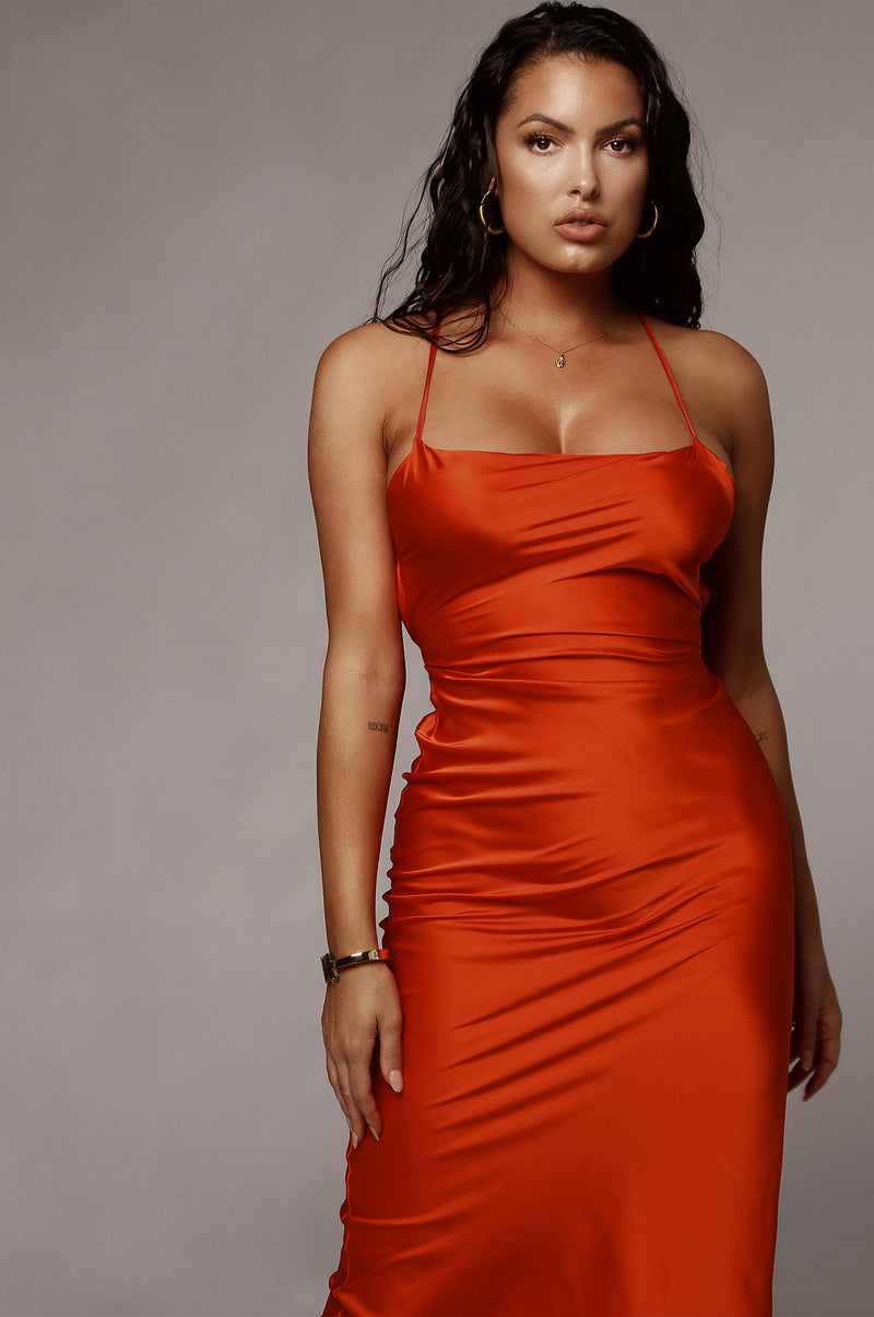 Orange Kinsey Satin Dress