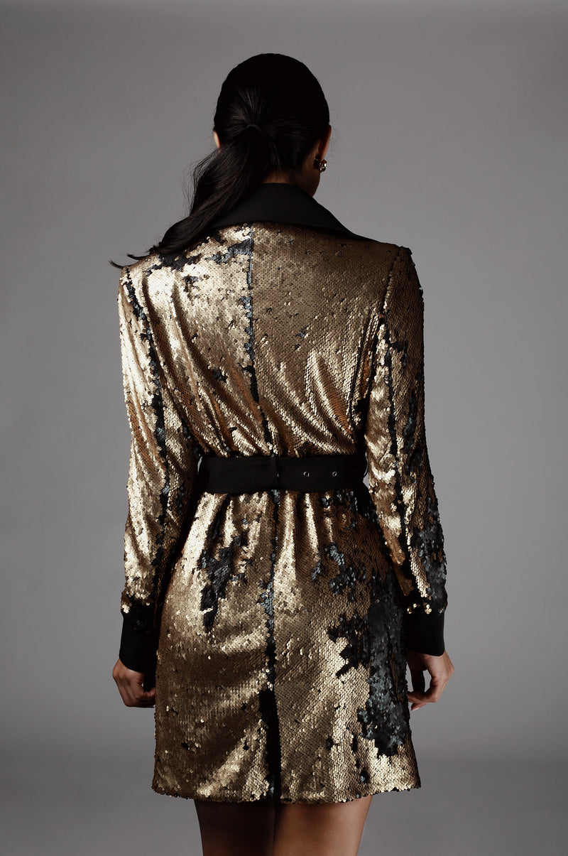 Black Sequin Two Tone Trench Coat
