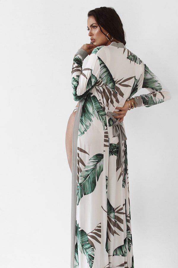 Olive Palmera Print Duster