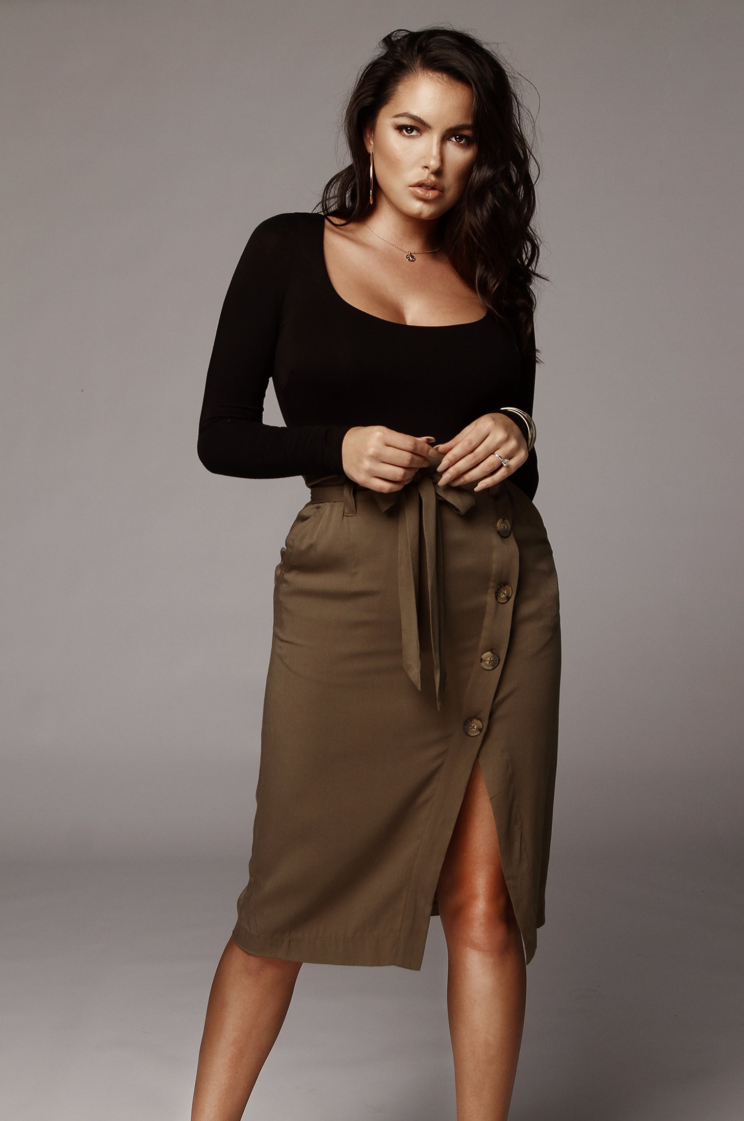 Olive Annie Button Up Pencil Skirt