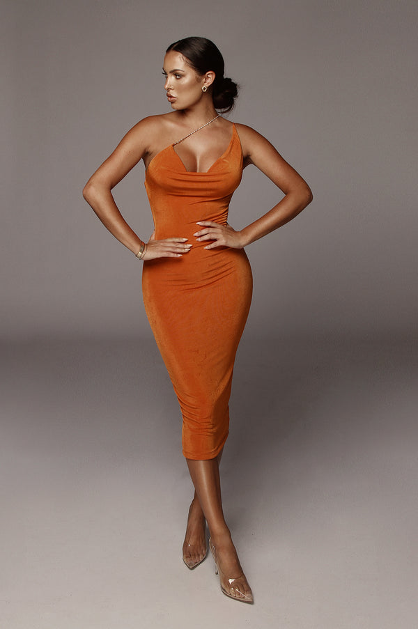 Orange Amarie Rhinestone Strap Dress