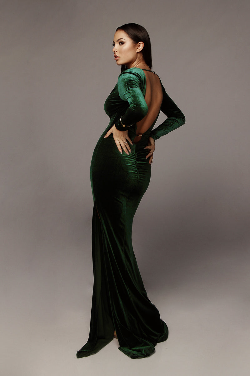Hunter Green Charlie Gold Detailed Velvet Gown