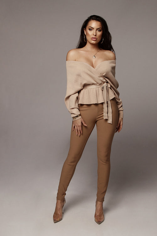 Mocha Lilya Peplum Sweater Blouse