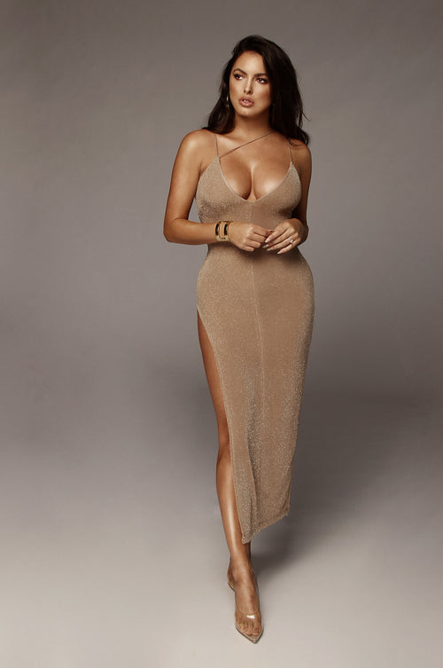 Beige Aalahna Sparkle Slit Dress