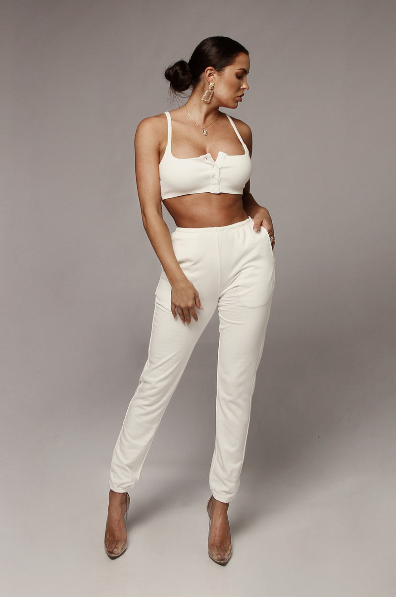 Ivory Chey Ribbed Crop Top