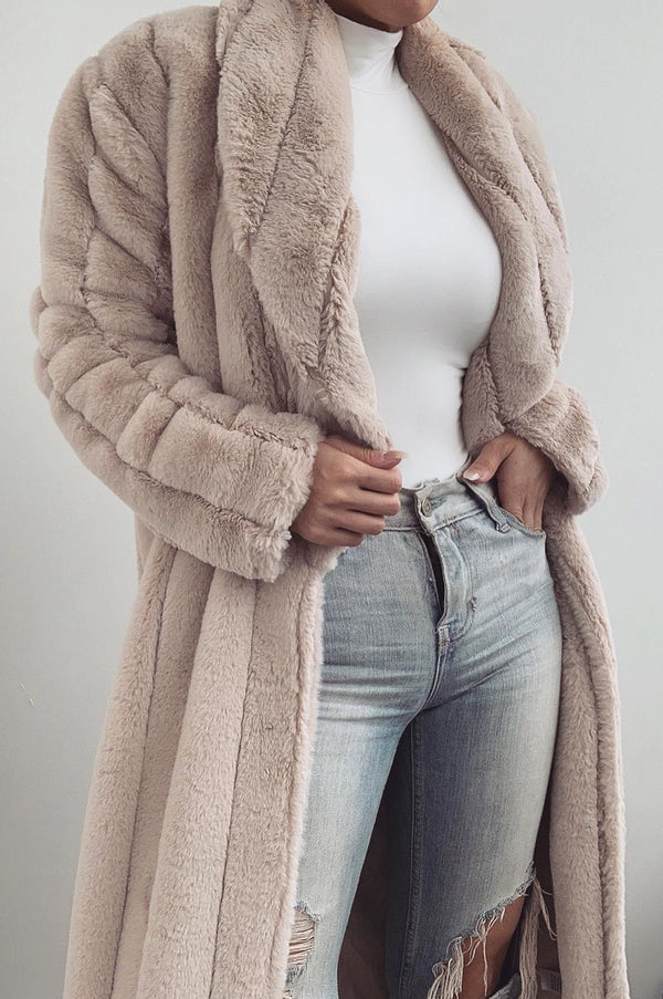 Bone Mahima Faux Fur Textured Coat