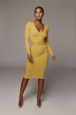Yellow Kita Ribbed Mid Tie Dress