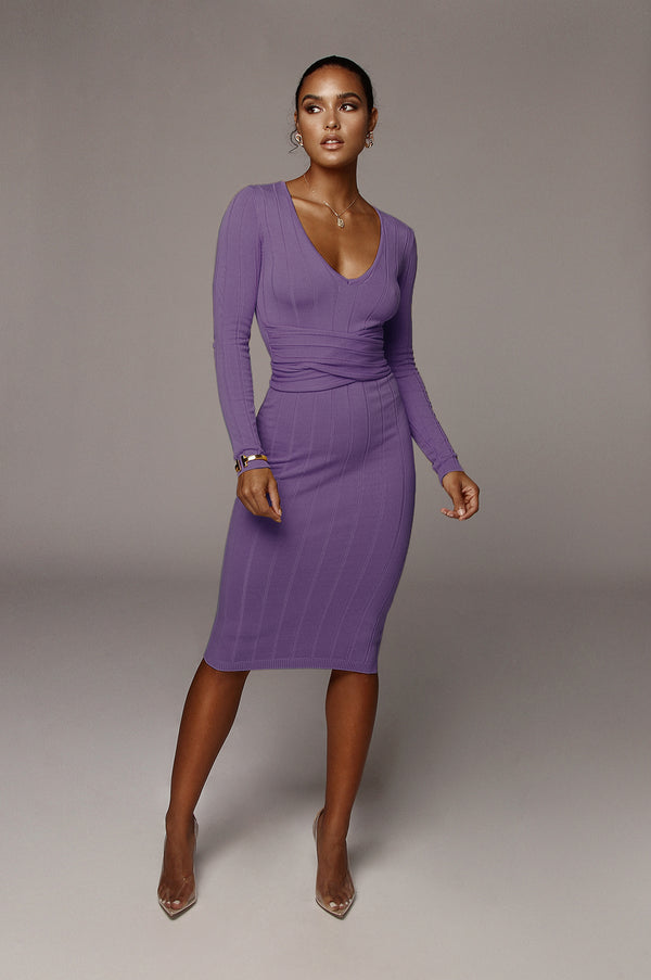 Purple Kita Ribbed Mid Tie Dress