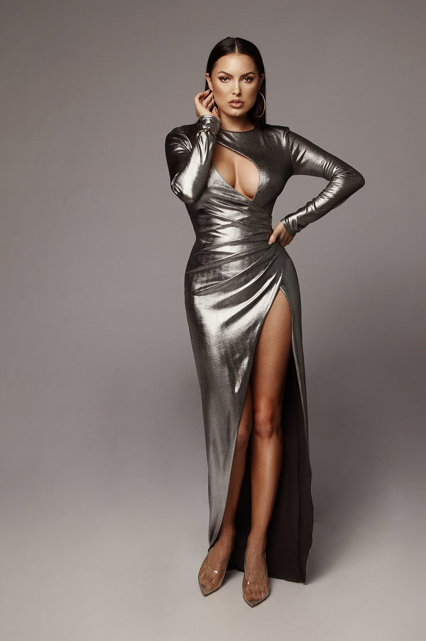 Silver Beatriz Keyhole Maxi Dress