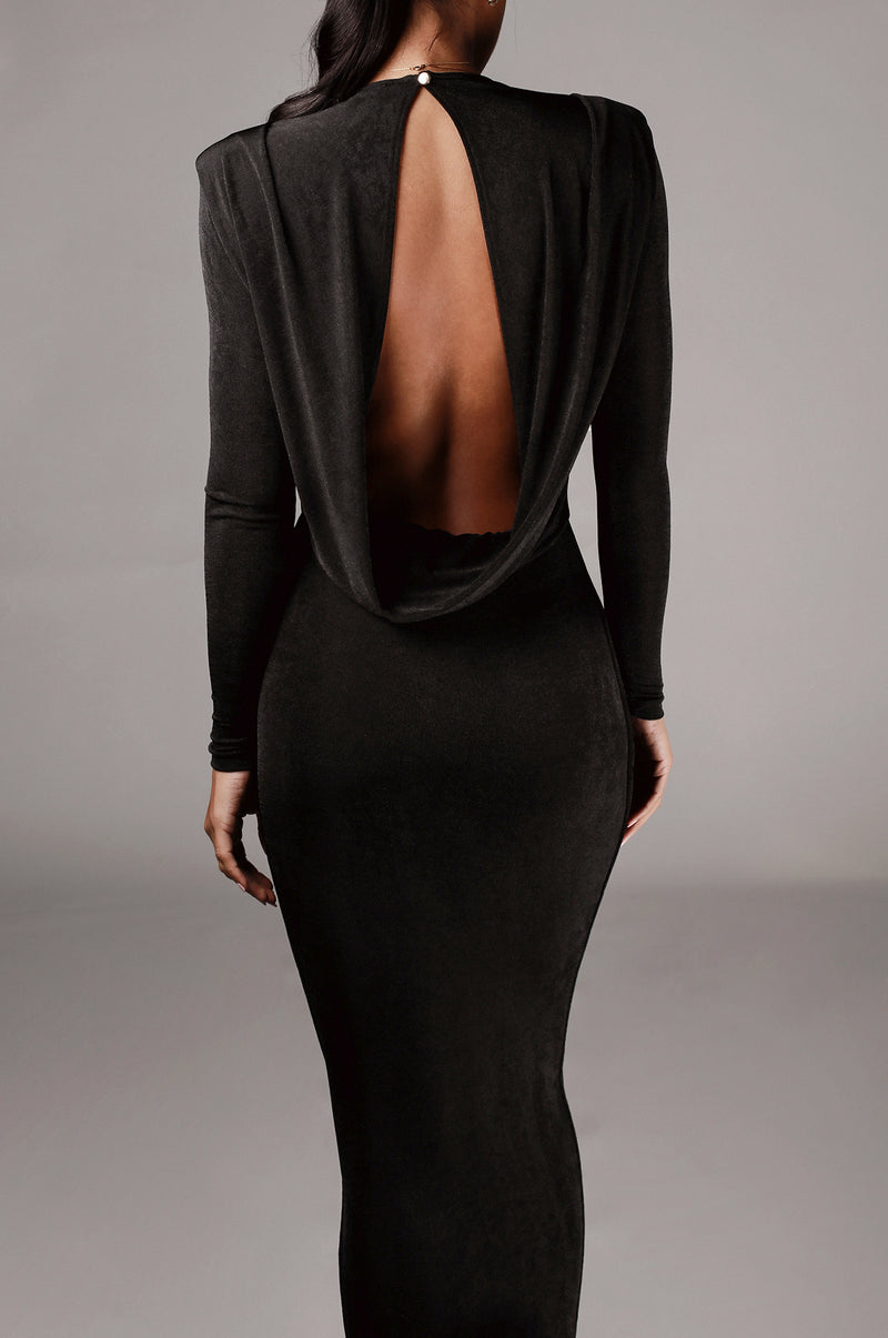 Black Ida Cowl Back Dress