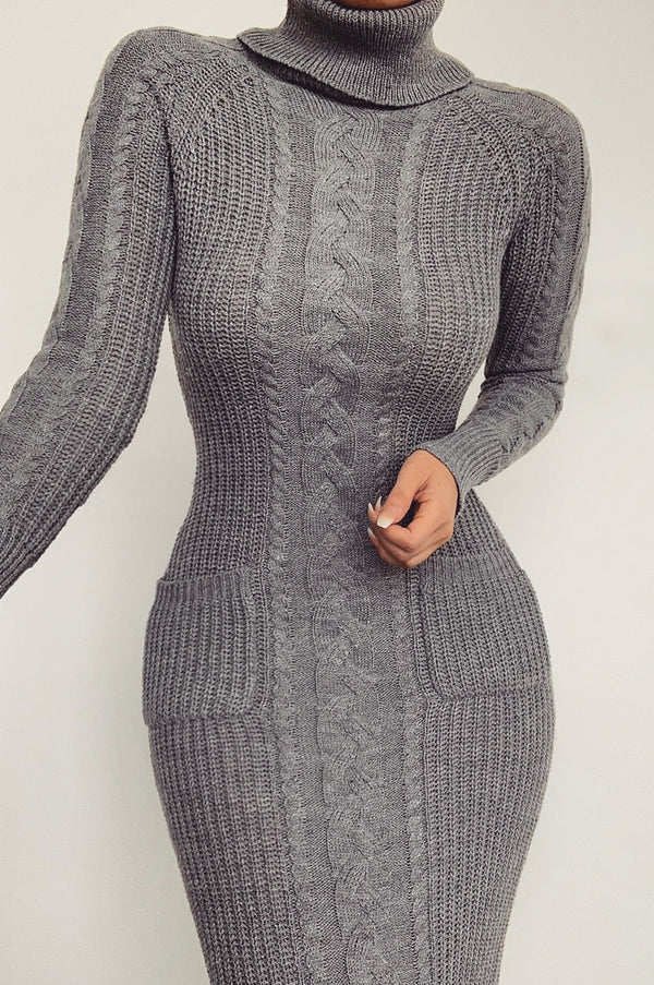 Grey Francesca Cable Sweater Dress