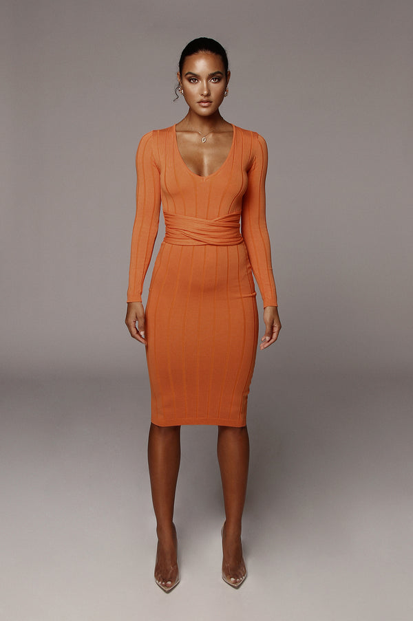 Orange Kita Ribbed Mid Tie Dress