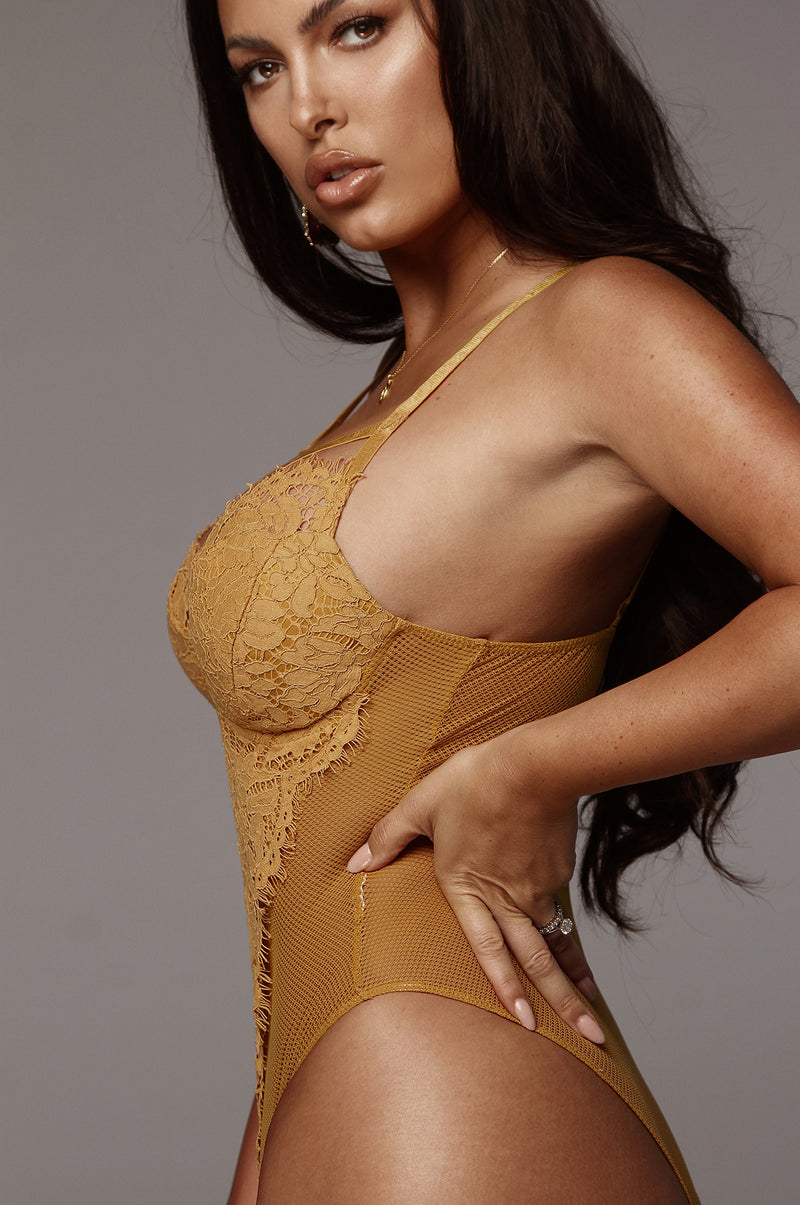 Mustard Bambi Mesh and Lace Bodysuit