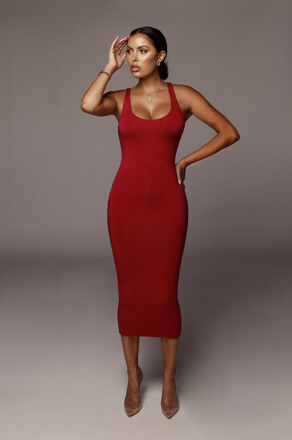 Deep Red Rachel JLUXBASIX Midi dress