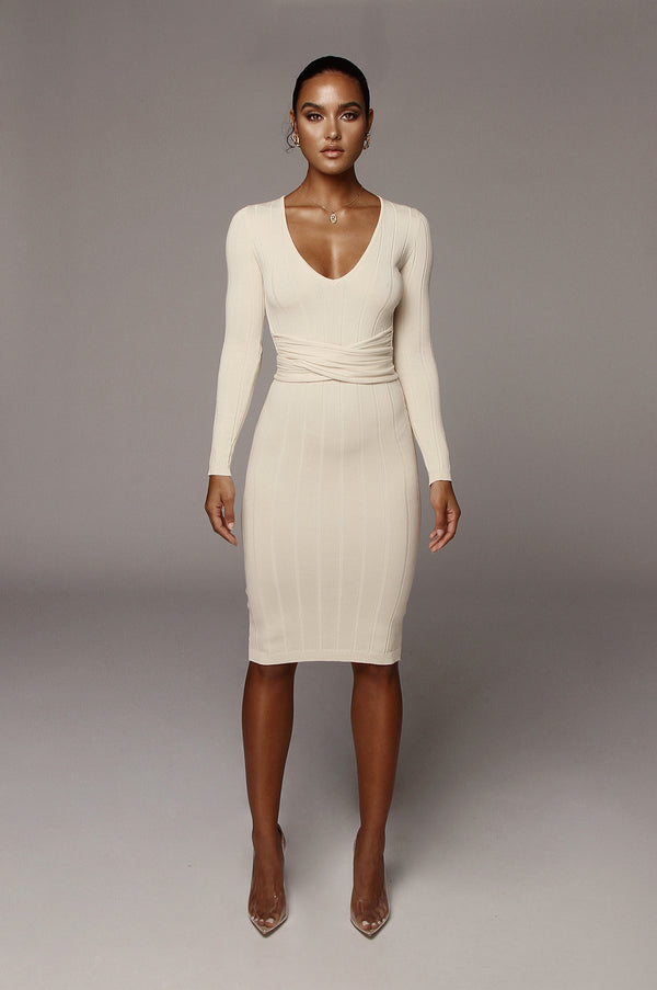 Beige Kita Ribbed Mid Tie Dress