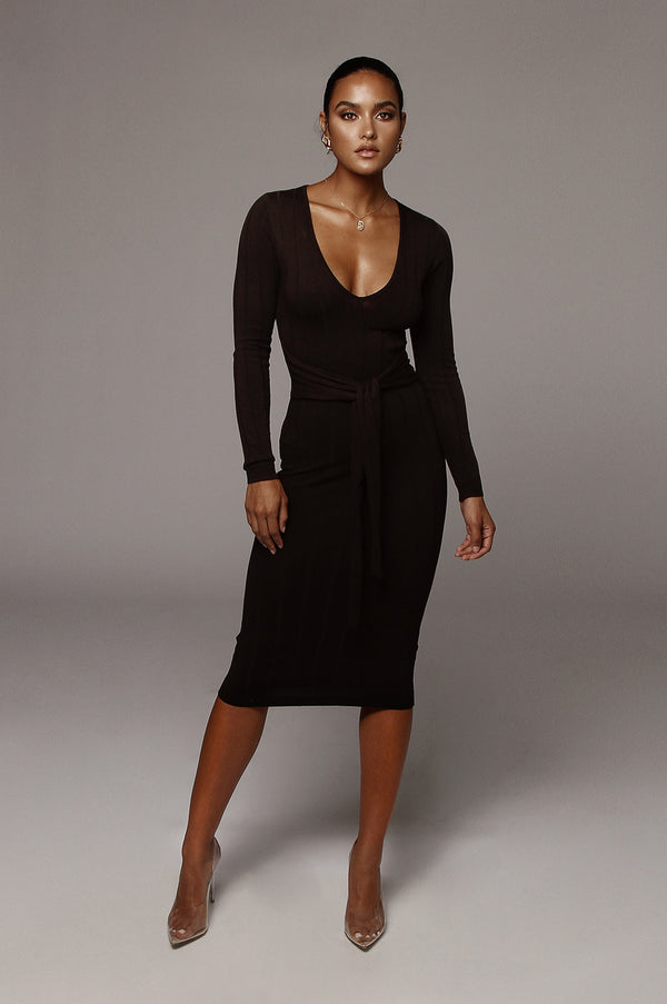 Black Kita Ribbed Mid Tie Dress