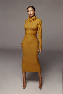 Mustard Aubrey Turtleneck Sweater Dress