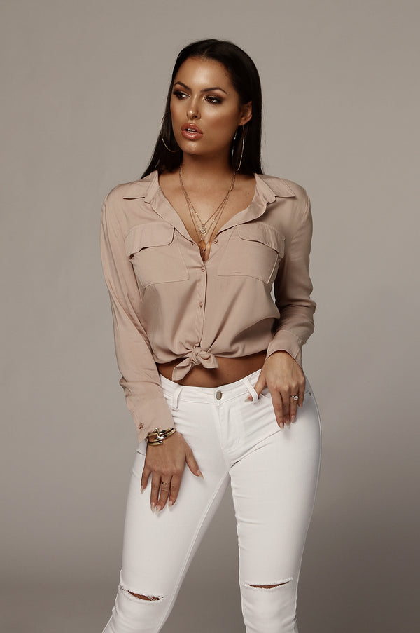 Dusty Blush Sandalwood Button Up Blouse