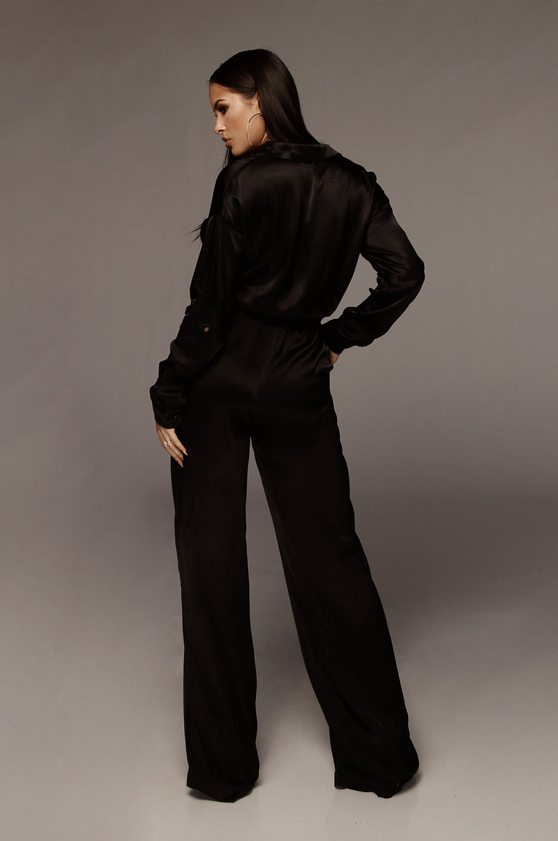 Black Victoria Silk Jumpsuit