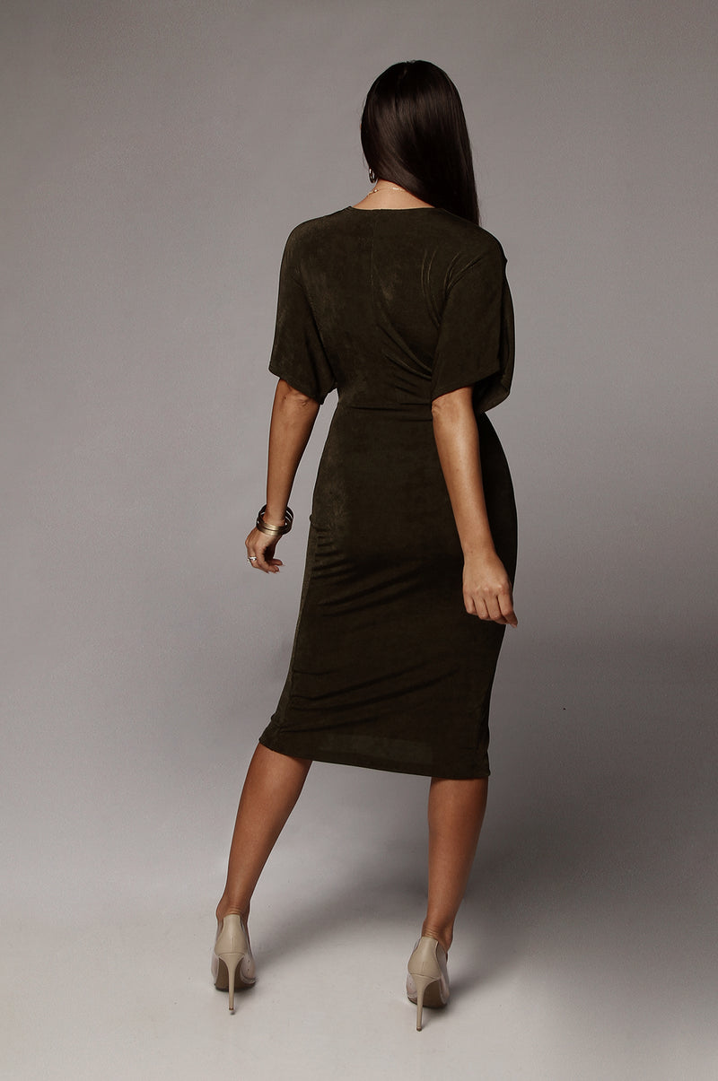 Olive Tiara Front Knot Dress