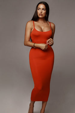 Orange Danica Thick Tank Dress
