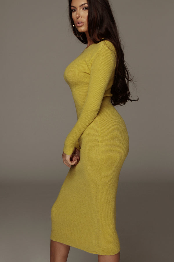 Chartreuse Nic Sweater Dress